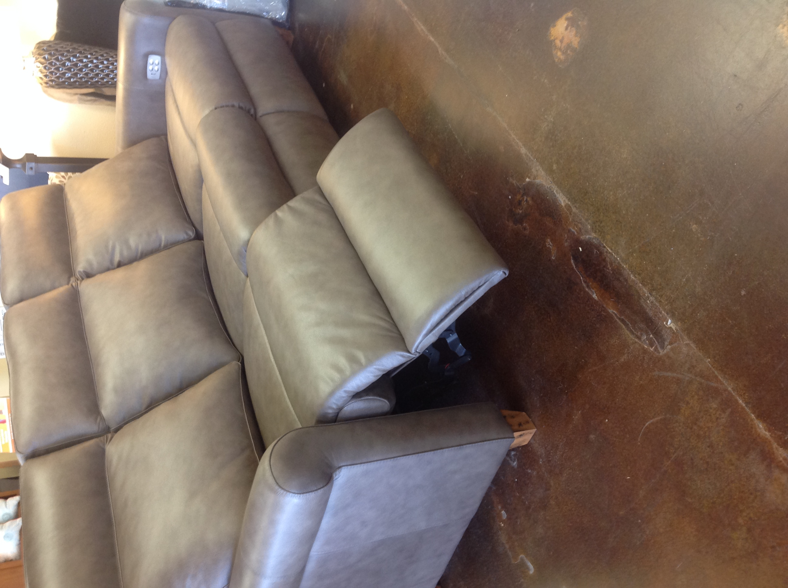 Power Solutions reclining leather sofa