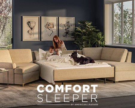 Cute family on a American Leather Comfort Sleeper Sectional